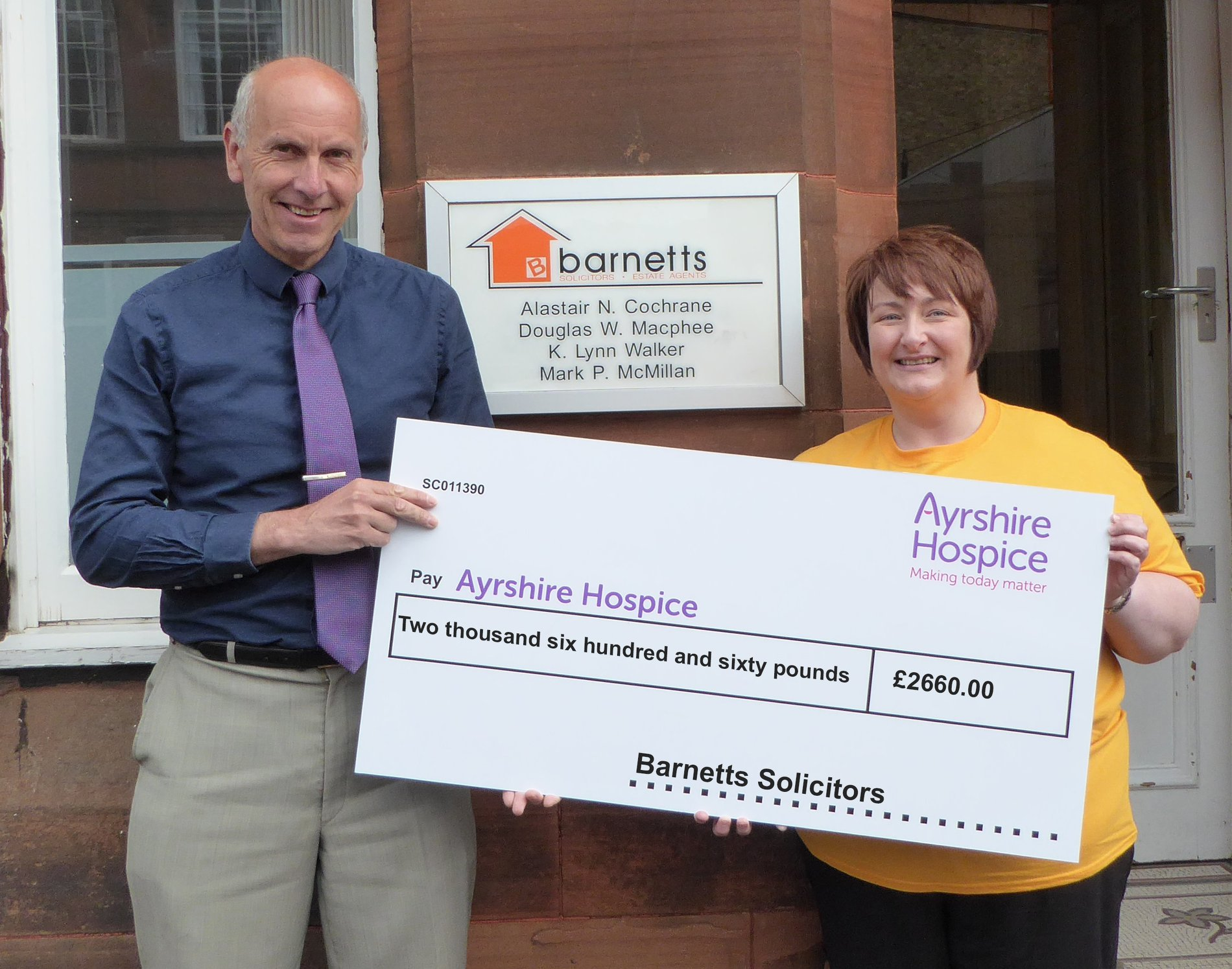 Donation to Ayrshire Hospice